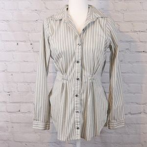 CAbi Fitted Pinstripe Button-Down Shirt